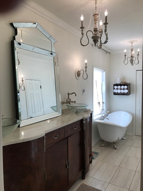 Rohl faucets in master bath and Rohl cast iron tub