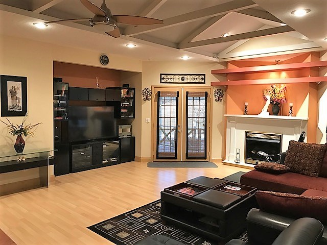 Gas log fireplace, French doors,Pergo floors