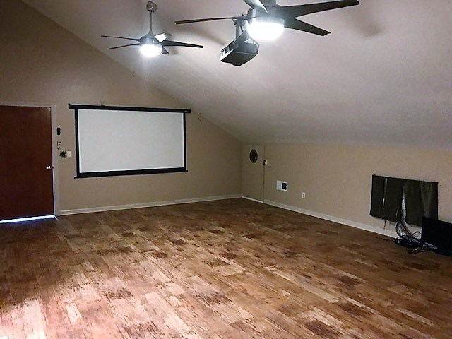 Large media room with projector.
