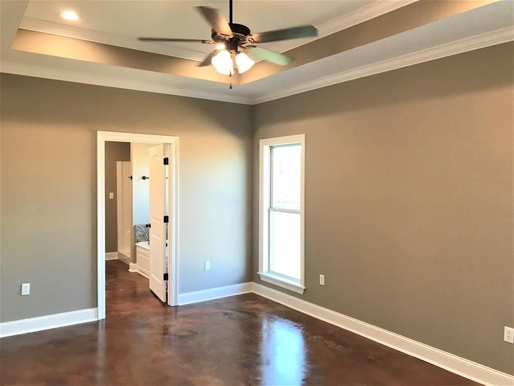Master bedroom has tray ceiling
